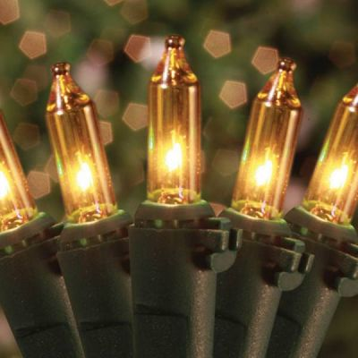 100 Mini Lights Amber - Green Cord