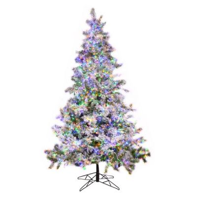 7.5' Pre-Lit Flock Oregon Fir Tree