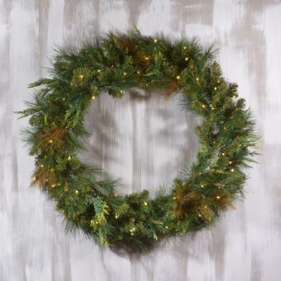 LED-48MCWRWWC - LED Mixed Cedar Pine Wreath - 48