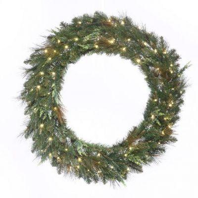 LED-72MCWRWWC - LED Mixed Cedar Pine Wreath - 72