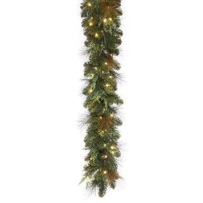 LED-9MCGWWC - LED Mixed Cedar Pine Garland - 9'