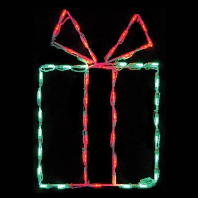 LED Gift Box - Green box/Red bow