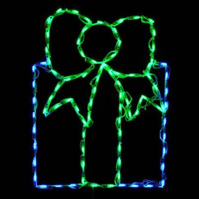 LED Gift Box - Blue with Green Bow