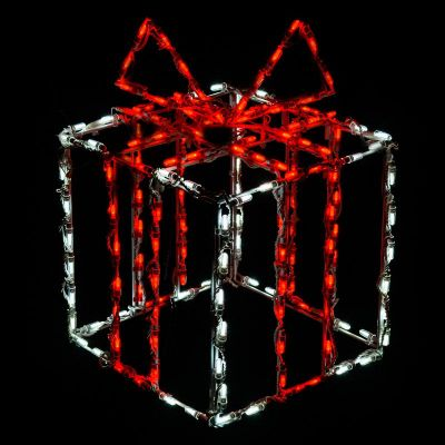 LED 3D Gift box white box red bow