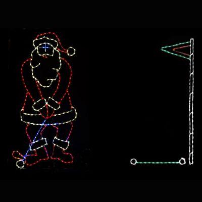 LED Golfing Santa Scene