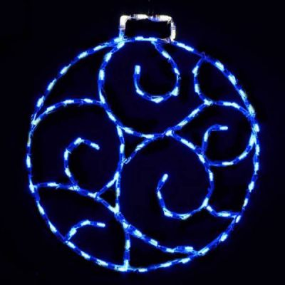 LED Scroll Ornament, Small - Blue
