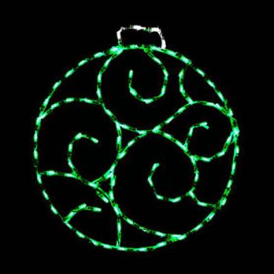 LED Scroll Ornament, Small - Green