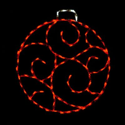 LED Scroll Ornament, Small - Red