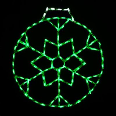 LED Snowflake Ornament, Small - Green