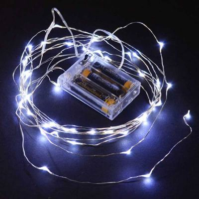 Wire Lights - 50 Bulbs Battery Operated (White)