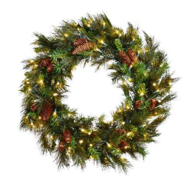 "LED 30"" Mixed Noble Wreath with Warm White LEDs"