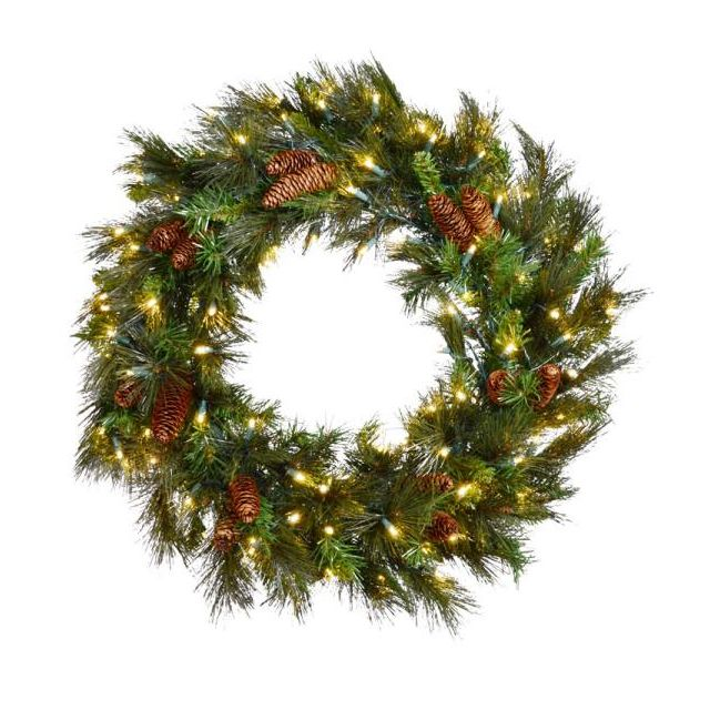 "LED 36"" Mixed Noble Wreath with White Light"