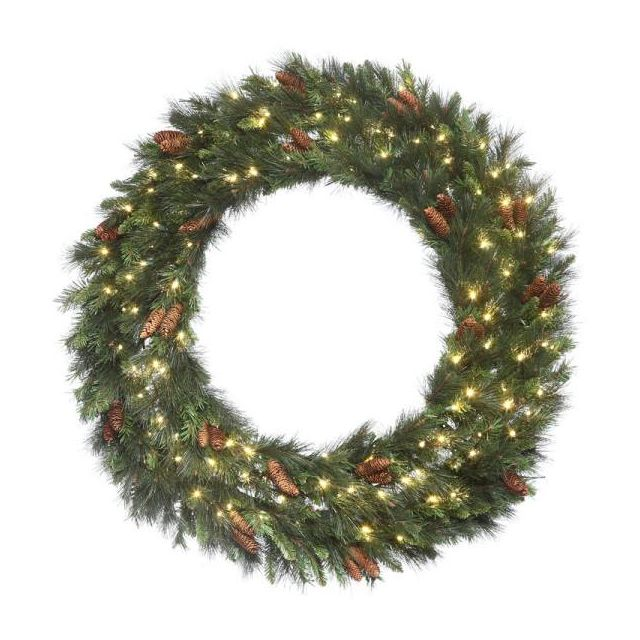 "LED 48"" Mixed Noble Wreath with Warm White Concaves"