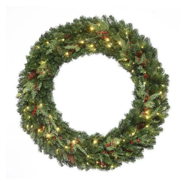 """LED 48"""" Mountain Pine Wreath Warm Whit"""