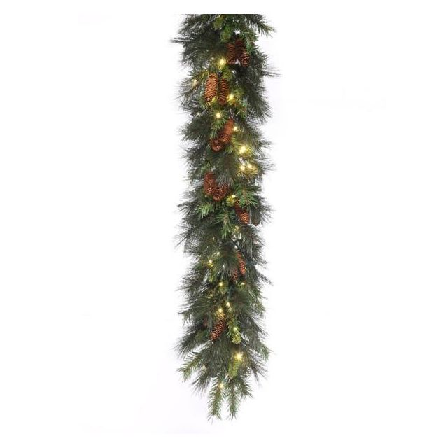 LED 9' Mixed Noble Garland With Warm White Concaves