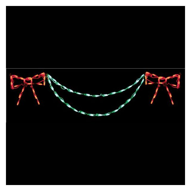 LED Bow with Garland End Piece (Red/Green