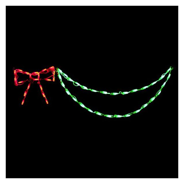 LED Bow with Garland (Red/Green