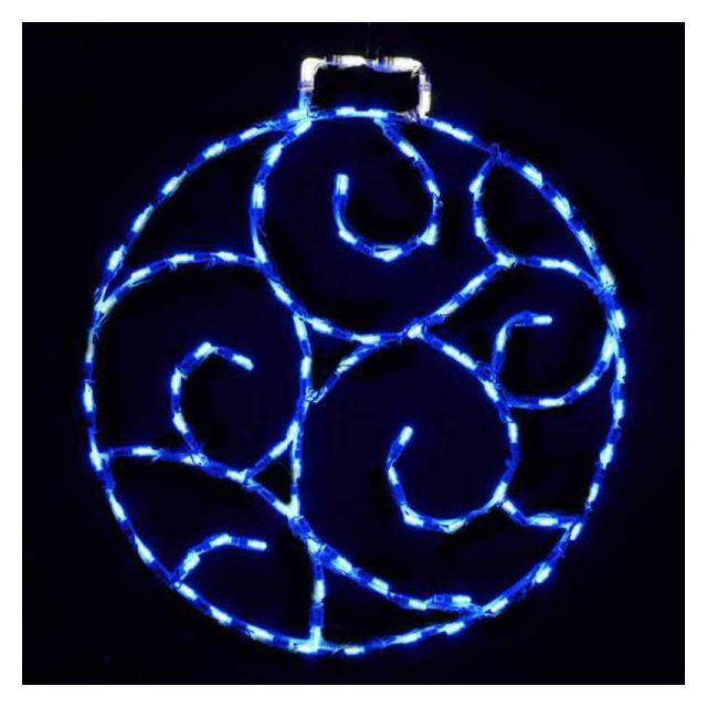 LED Scroll Ornament, Small - Blu