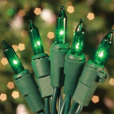 100 Mini Lights Green - Green Cord