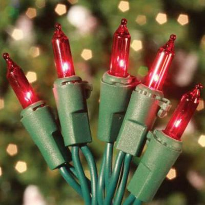 100 Mini Lights Red - Green Cord