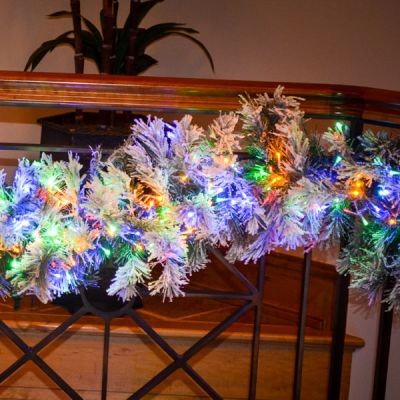 6' Pre-lit Flock Oregon Fir Garland, with Meteor Lights