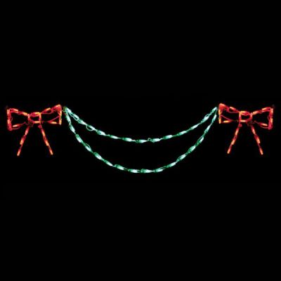 Bow with Garland End Piece (Red/Green)