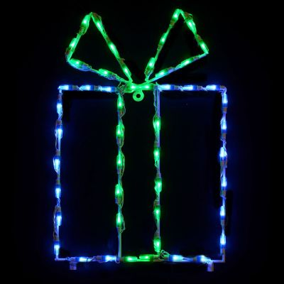 LED Gift Box - Blue box/Green bow