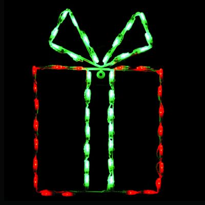 LED Gift Box - Green box/Red bow
