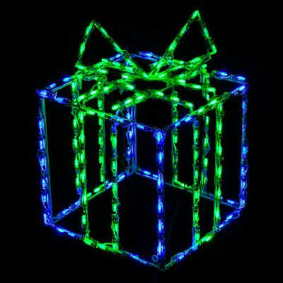LED 3D Gift Box Blue Box Green Bow