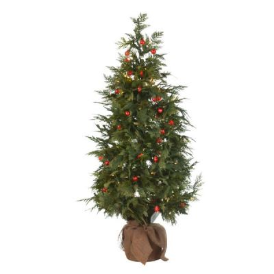 LED 4' Holly Berry Table Top Tree with 3mm WW LED and Red G25