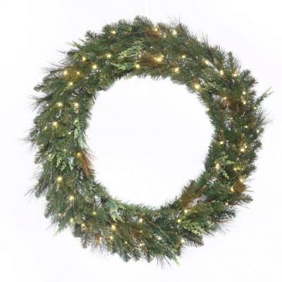 LED-72MCWRWWC - LED Mixed Cedar Pine Wreath - 72