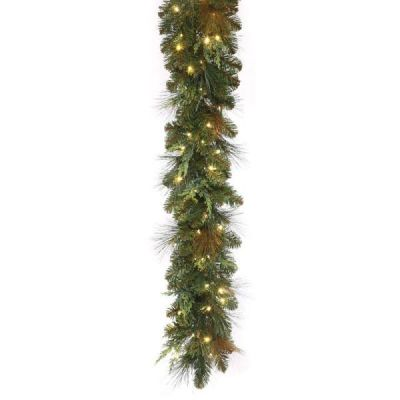 LED 9' Mixed Cedar Pine Garland with Warm White Concaves