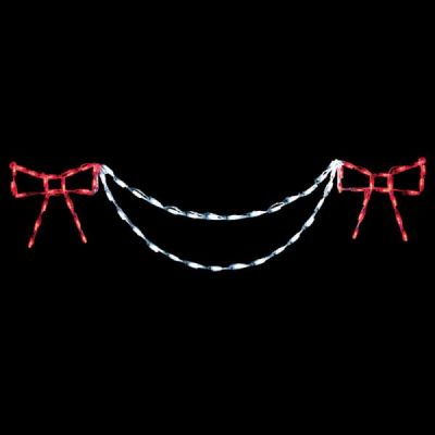 LED Bow with Garland End Piece (Red/White)