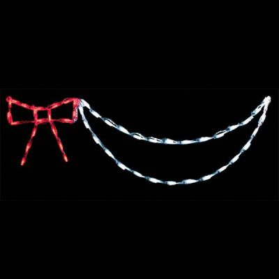 LED Bow with Garland (Red/White)