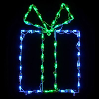 LED Gift Box - Blue box/Green bow