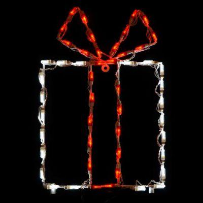 LED Gift Box - White box/Red bow