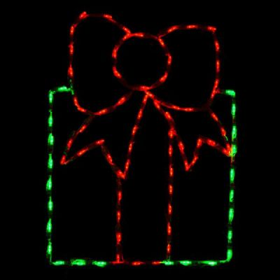 LED Gift Box - Green with Red Bow