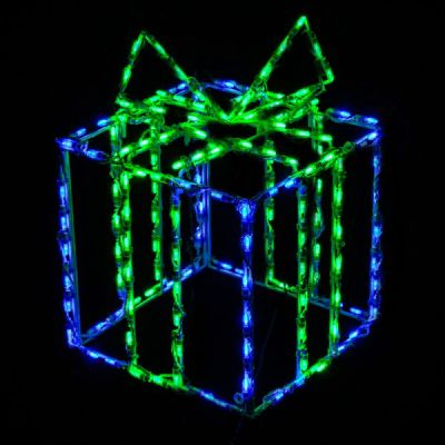 LED 3D Gift Box Blue Box Green Bow