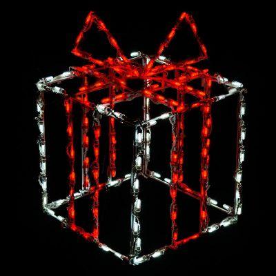 LED 3D Gift box white box red bow