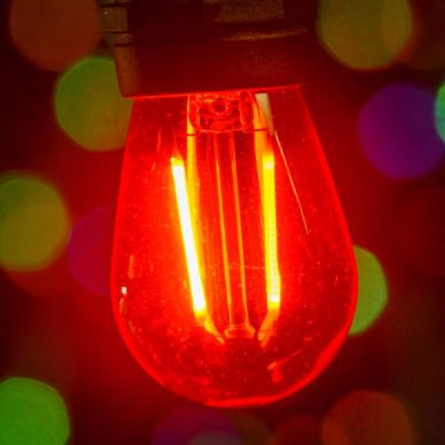 LED S14 Smooth PC Bulb Red
