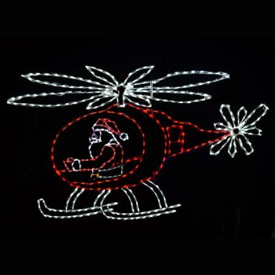 LED Santa in Animated Helicopter