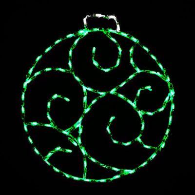 LED Scroll Ornament, Small (Green)