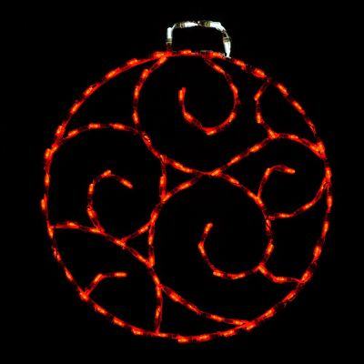 LED Scroll Ornament, Small (Red)