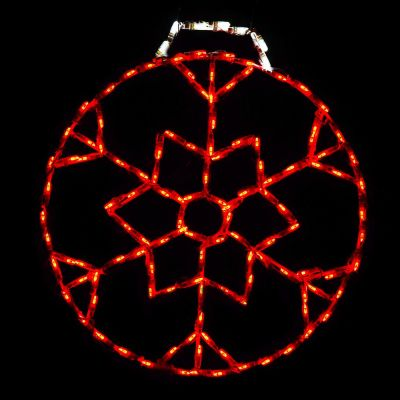LED Snowflake Ornament, Small (Red)