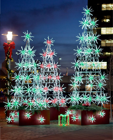 Image showing three starburst Christmas trees